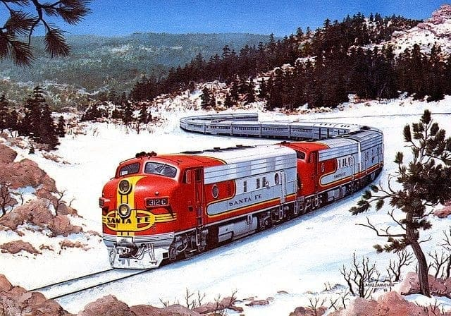 Postcard of Santa Fe Super Chief at Raton Pass NM   Credit: Santa Fe Railroad