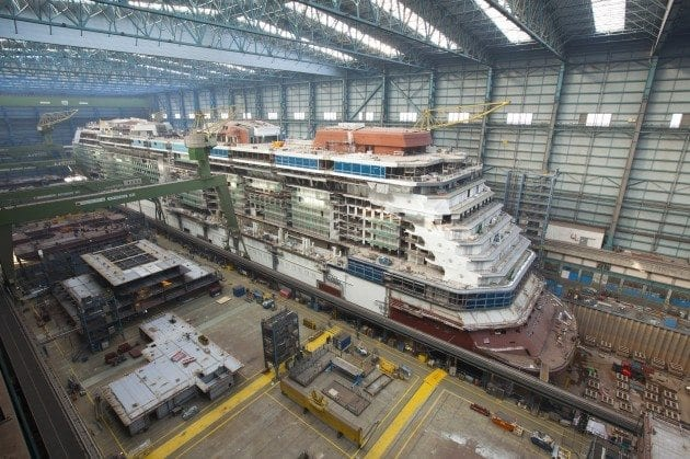 Celebrity Reflection aerial at shipyard 2