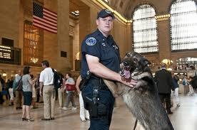 K9 team patrol the Port Jefferson train station in Long Island