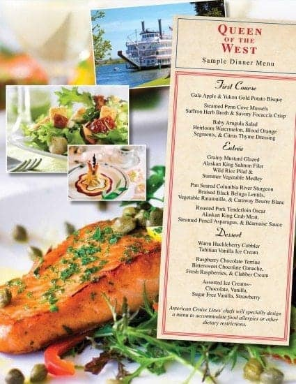 American Cruise Line Culinary Cruise Collection Queen of the West menu