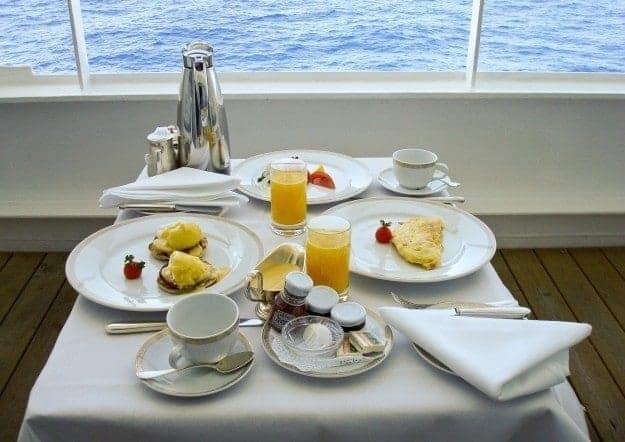 Regent Seven Seas Navigator balcony breakfast