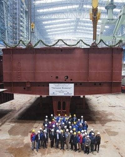 Norwegian Cruise Line keel laying ceremony