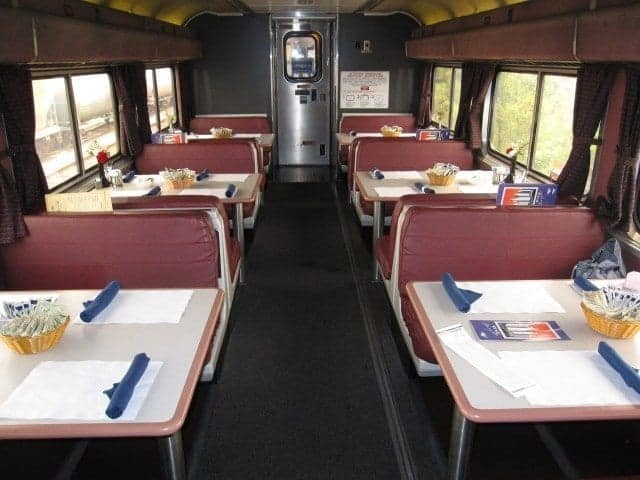 Dining car without dinner time tablecloths
