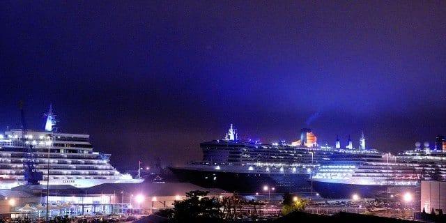 Cunard Line 3 Queens fireworks in Southampton