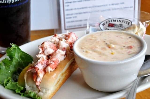 Lobster roll and seafood chowder at Thirsty Whale