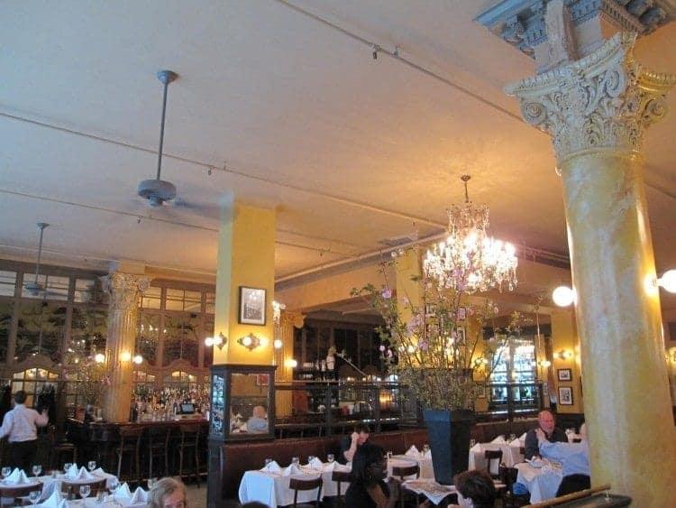 The restaurant of Cafe Un Deux Trois in Manhattan
