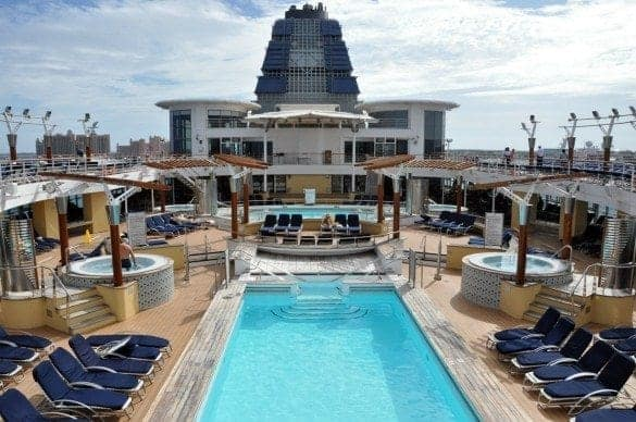 Celebrity Millennium in port at Nassau Bahamas. Only two passengers in the pool area.