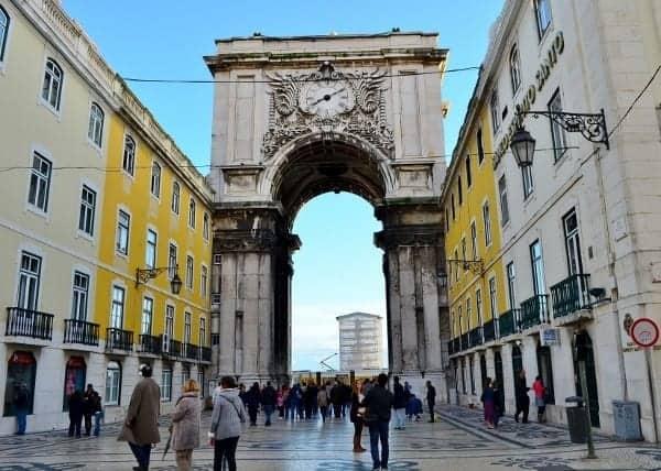 Downtown Lisbon pedestrian mall