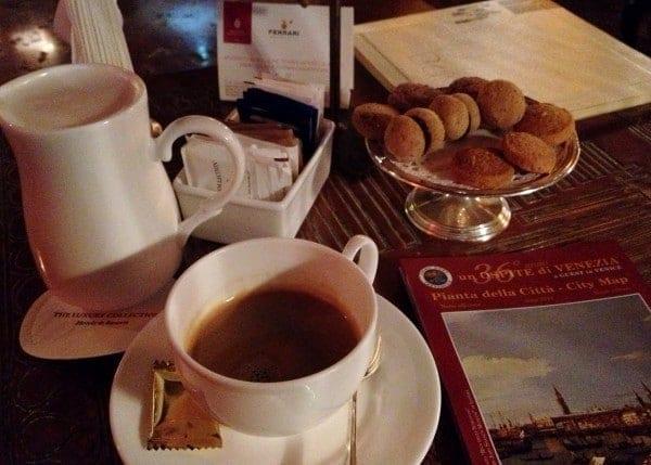 Morning cappuccino at the Hotel Danieli
