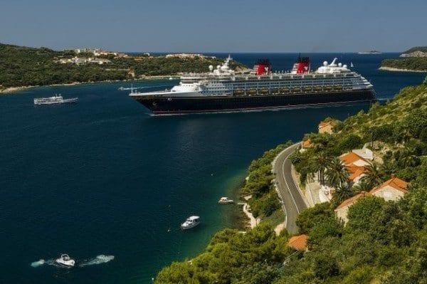 Disney Magic arrives into the beautiful port of Dubrovnik, Croatia.