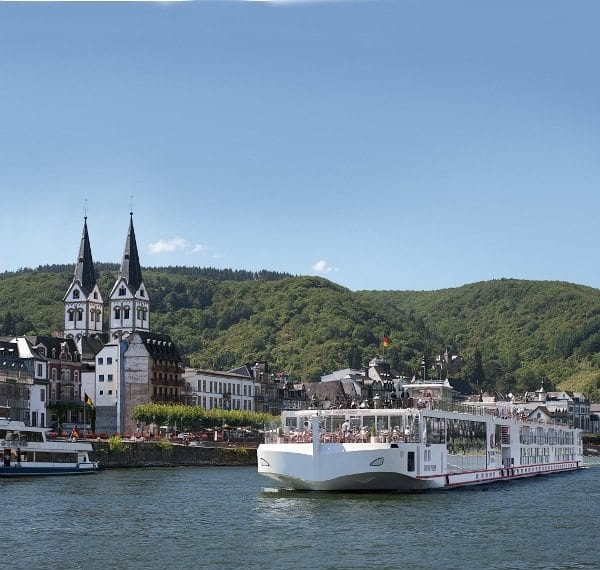 Viking River Cruises, Viking Freya, sails through Boppard, Germany.