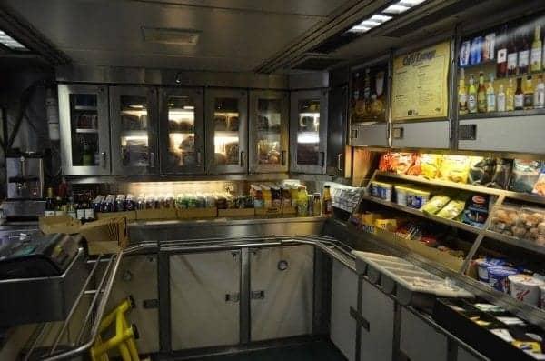 Snack bar aboard the Coast Starlight.