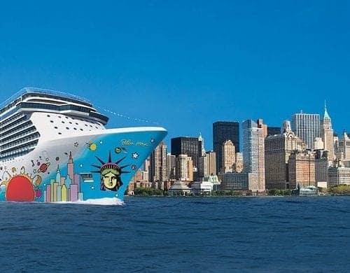 The Norwegian Breakaway against the New York City skyline.