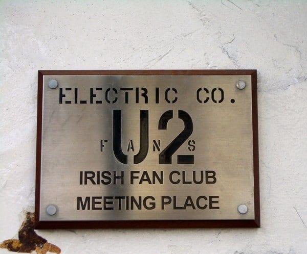 U2 Irish Fan Club Plaque