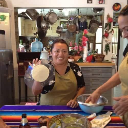 Making tortillas at Josefina's Kitchen cooking class in Cozumel.
