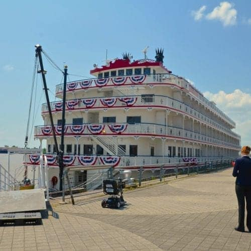 My first glimpse of the Queen of the Mississippi at the Riverwalk in New Orleans on our Mississippi River cruise.