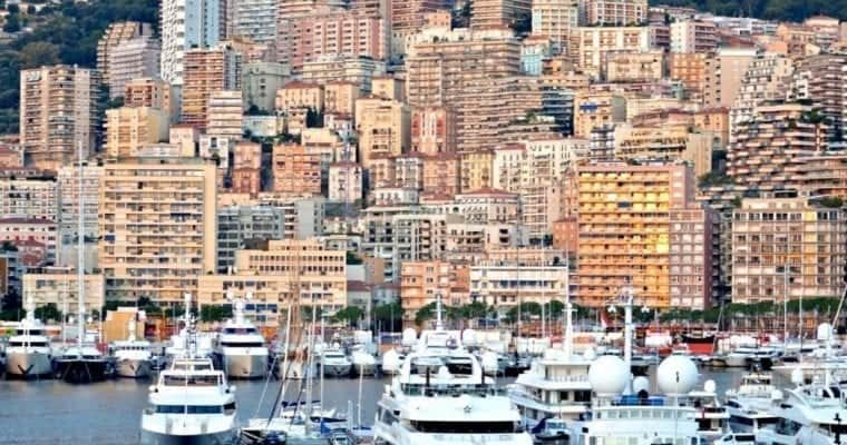 Monte Carlo at sunrise from Port Hercule.