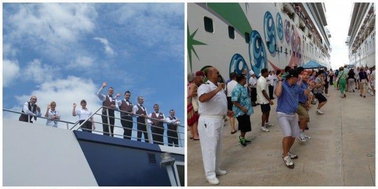 Crew of Amawaterways waving good-bye and crew from Norwegian dancing welcome back!