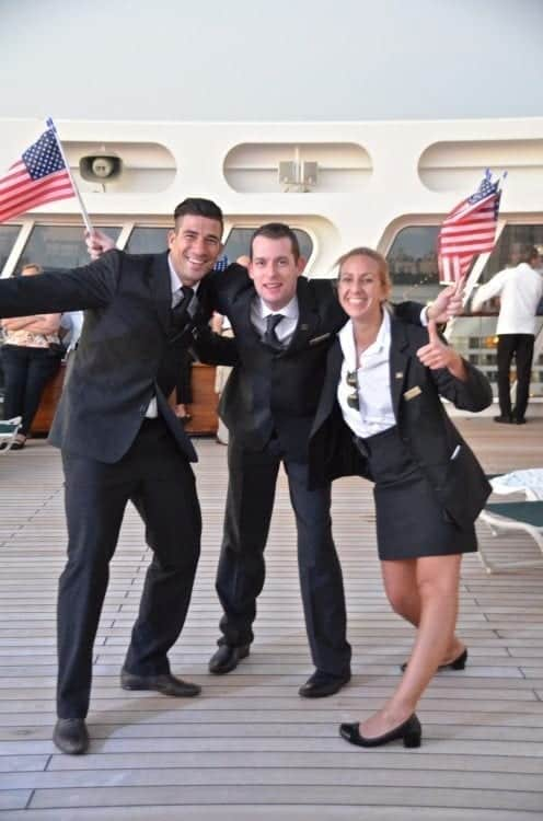 Sailaway from New York City to England is always a festive event. Even the staff has fun.