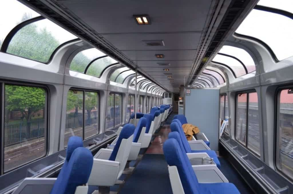 Sleeping car passengers also have access to the observation car on Superliners like this one.
