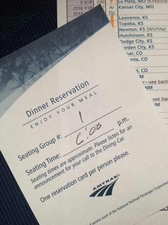 My Amtrak dinner reservation slip.