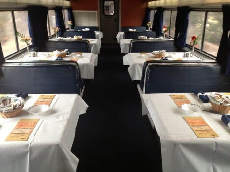 Amtrak Southwest Chief dining car. I was traveling between Chicago and Los Angeles.