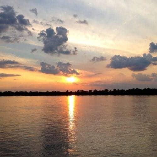 Sunset on the Mississippi River.