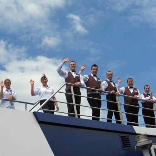 The cruise from AmaWaterways lined up to wave goodbye when I had to leave the ship one day early.