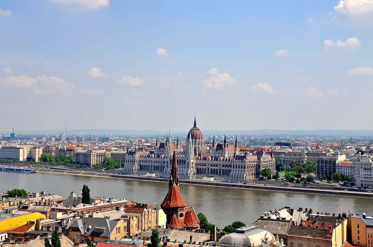 View of the sprawling Budapest Parliment Building from across the Danube on the Pest side.