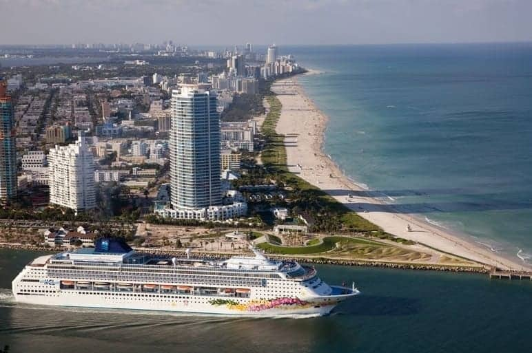 Norwegian Sky leaves the Port of Miami en route to the Bahamas.