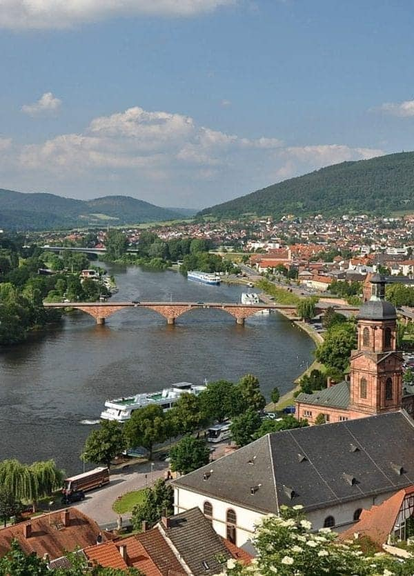 Scenic view from atop Miltenberg Castle on the Main River.