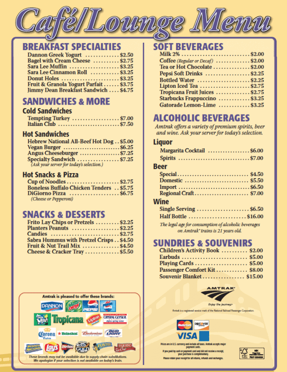 Permalink to Amtrak Cafe Car Menu