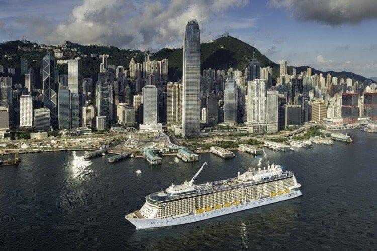 Royal Caribbean Quantum of the Seas arrives in Hong Kong.