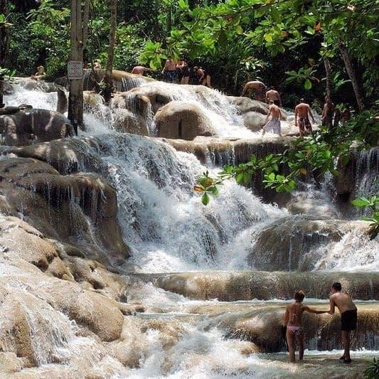 Climbing Dunn's River Falls, close to Ocho Rios, Jamaica
