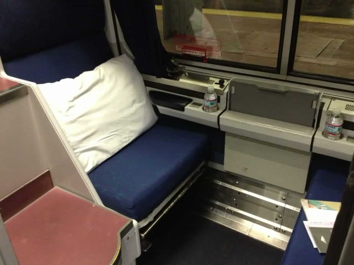 An Amtrak Silver Star roomette. You still get bottled water, juice and coffee...just no proper dinner.