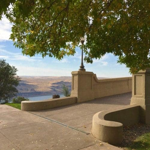 View of the Columbia River from the patio at Maryhill Museum.