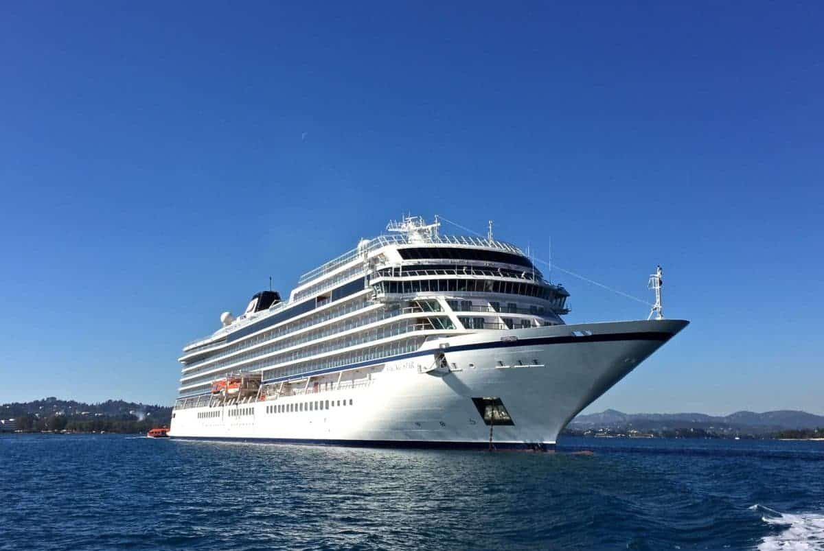Viking Star anchored in the Mediterranean.
