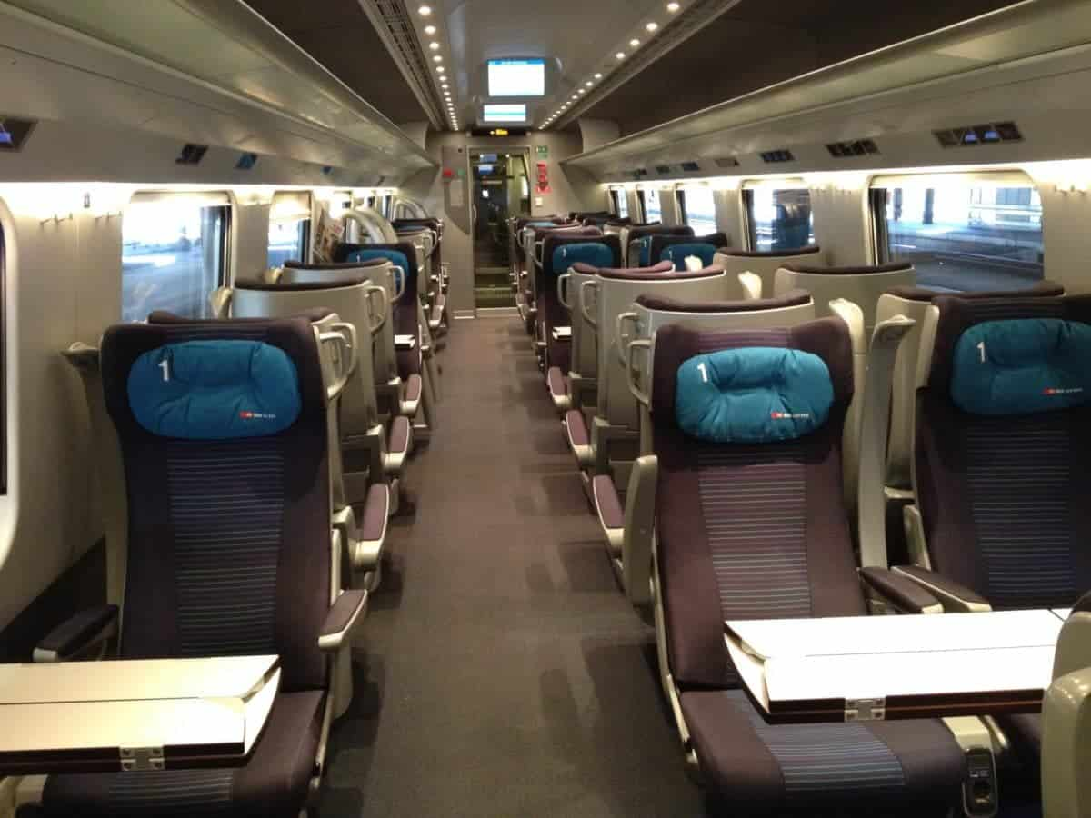 Aboard the Frecciarossa high speed Italian train