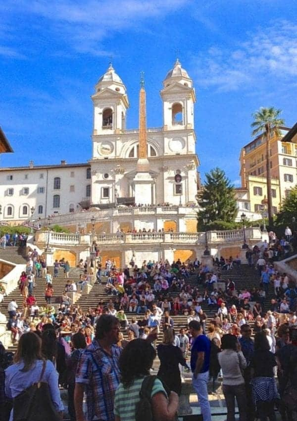 Crowded Spanish Steps in Rome in October.