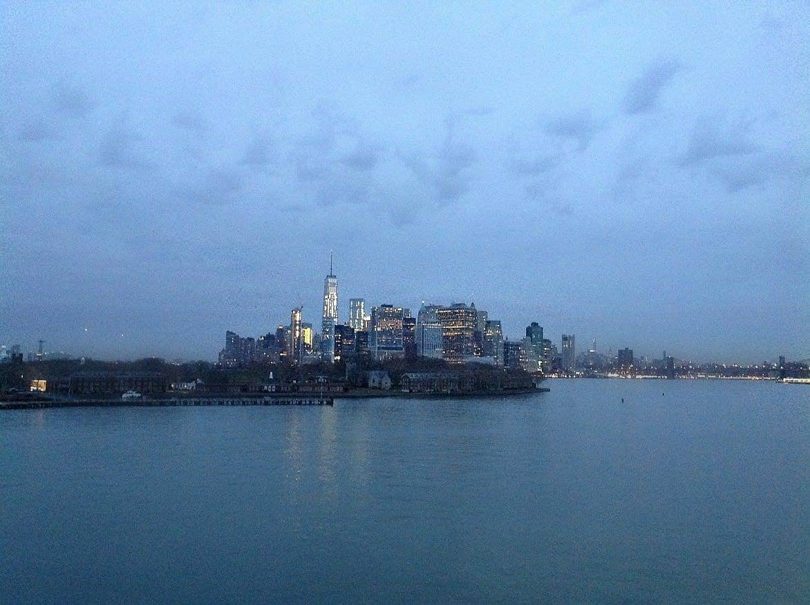 New York City at dawn.