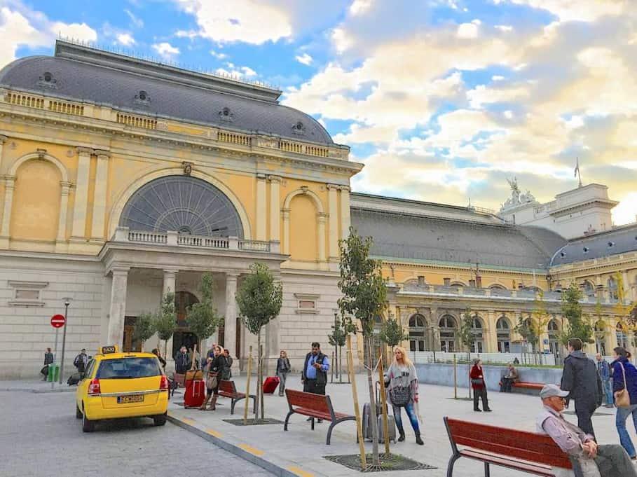 Budapest Keleti train station outside main hall near taxi rank.