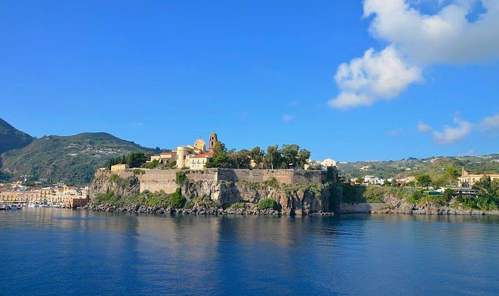 Island of Lipari seen from Royal Clipper