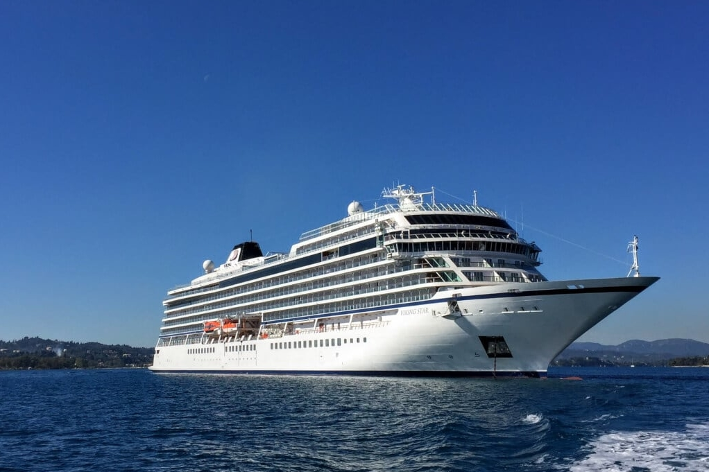 Viking Star anchored off Corfu, Greece