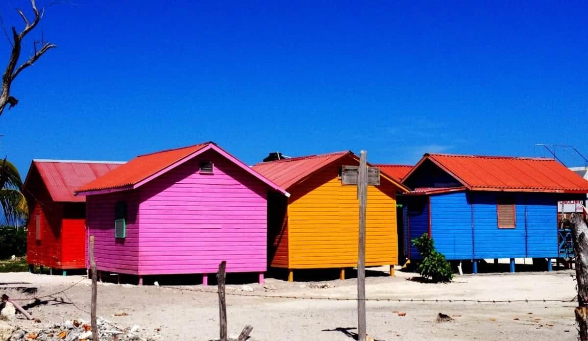 Colorful tiny houses in Mahajual Mexico near Costa Maya