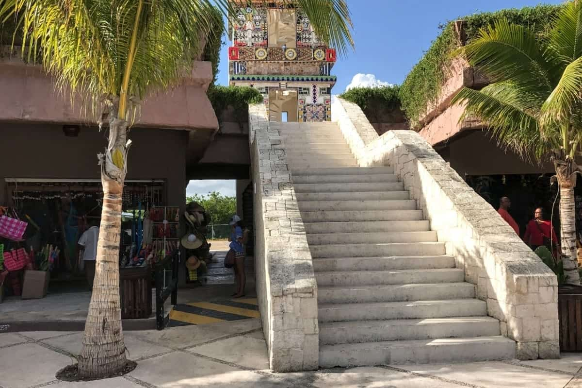 Costa Maya staircase with short cut to trolley