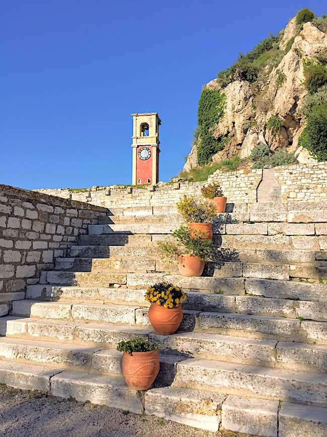 Corfu Fortress cobblestone stairway