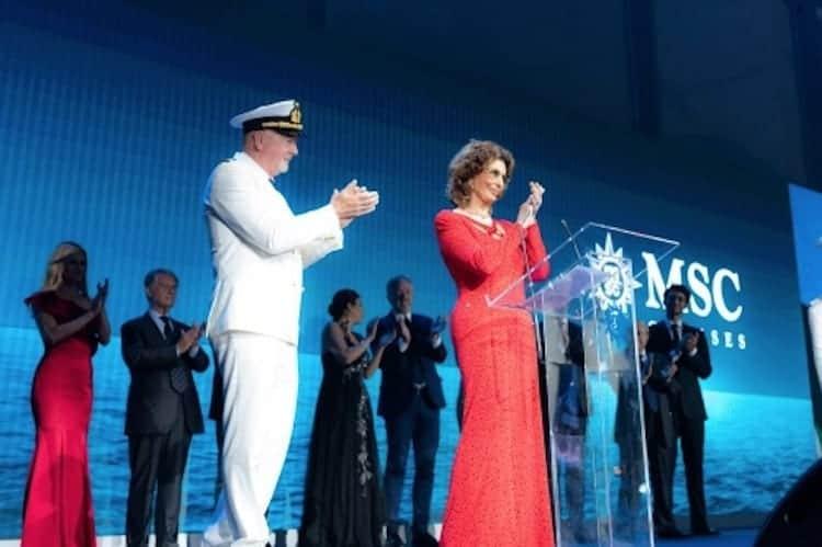 MSC Seaview Christening ceremony with Sophia Loren