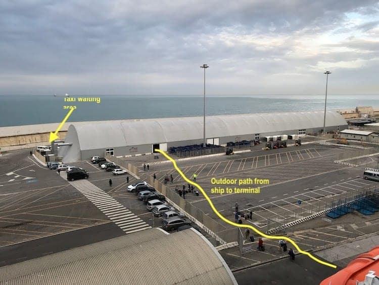 Civitavecchia cruise terminal debarkation