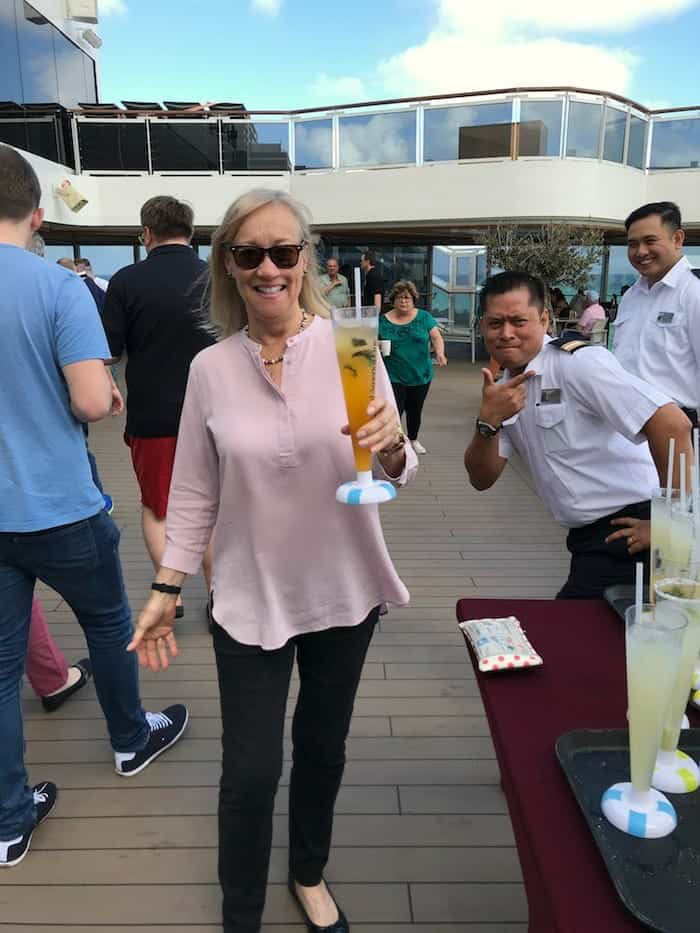 Cruising solo at the sailaway party on deck of Koningsdam.