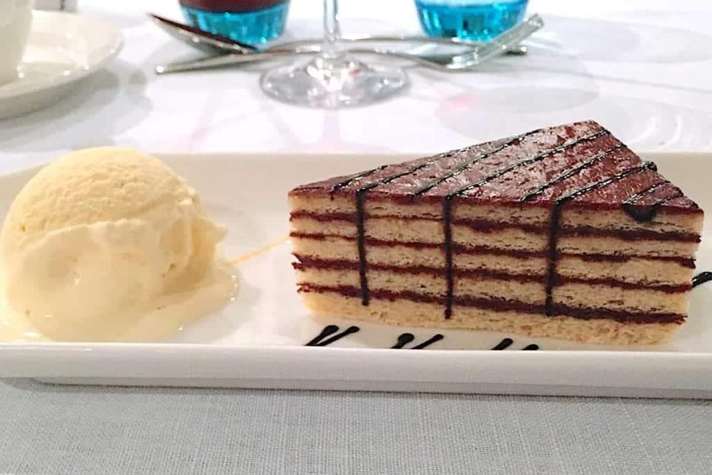 Viking Lif torte cake dessert on first night in Budapest.